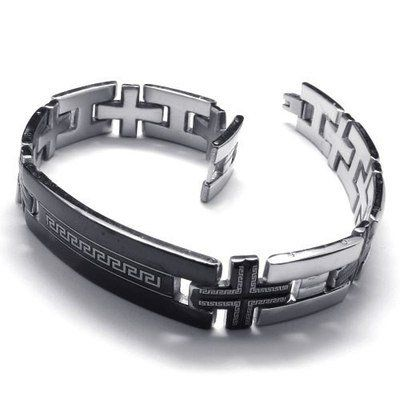 """Cheap steel bracelet, Buy Quality steel my heart bracelets directly from China stainless steel cross charm Suppliers: PRODUCT ID:10018625 METAL: Stainless SteelCOLOR: Silver & BlackSIZE: L: 8.7"""", W:12mm"""