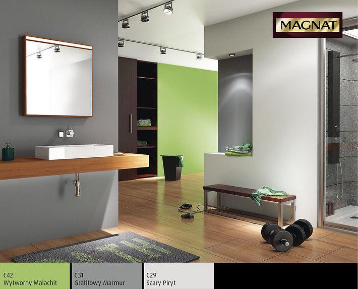 Zielono szara łazienka