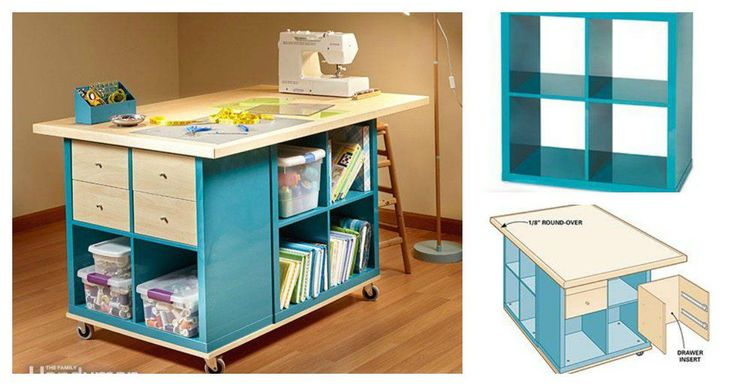 If you want to have a large and tall table on which to spread out and make stuff, then this DIY Craft Room Table With Ikea Furniture is a perfect option.