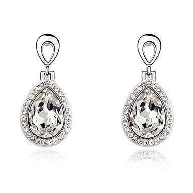 Elegante forma de la lágrima de cristal Pendientes de novia hechos con cristal swarovski – USD $ 25.99