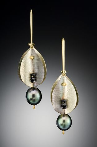 Petal Earring | C A Mackellar | Fabricated from an electrum alloy and oxidised sterling silver  with 24kt and 18kt gold with black diamond rondells and tahitian pearls