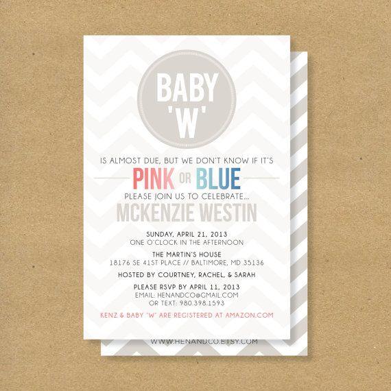 Baby Shower Invitation -- GENDER NEUTRAL SHOWER - Pink, Blue, Neutral Chevron
