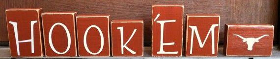 Texas Longhorns Hook 'Em Wooden Decor Blocks http://www.pinterestbest.net/Red-Lobster-Gift-Card
