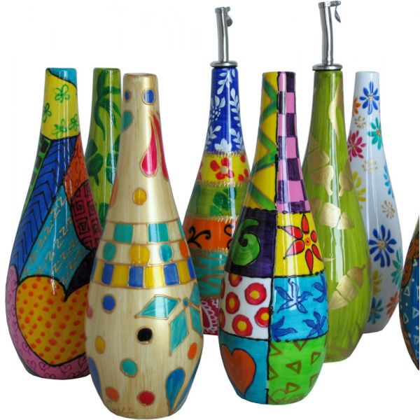 olive oil containers | Hand Painted Olive Oil Bottle with Pourer - Jazz