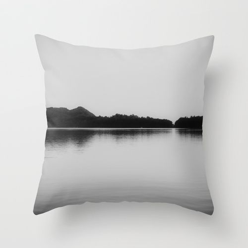 Herring Lake Black and White Throw Pillow