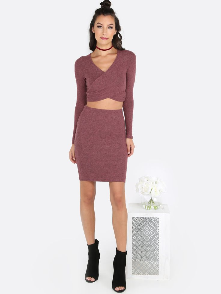 Comfortable yet chic, featuring a sleeved wrap over crop top and bodycon  skirt set with