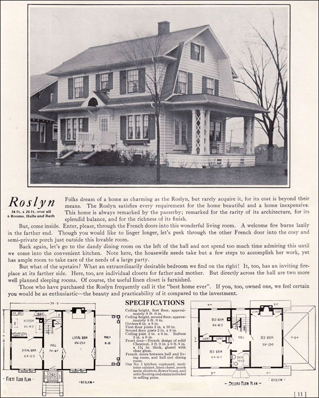 1922 dutch colonial revival the roslyn 1920s kit for Antique colonial house plans