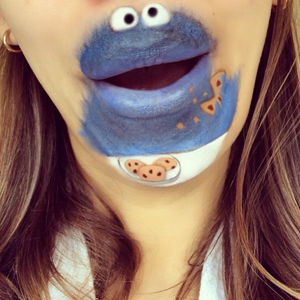 Makeup Artist Turns Her Lips Into Cute Cartoon Characters.
