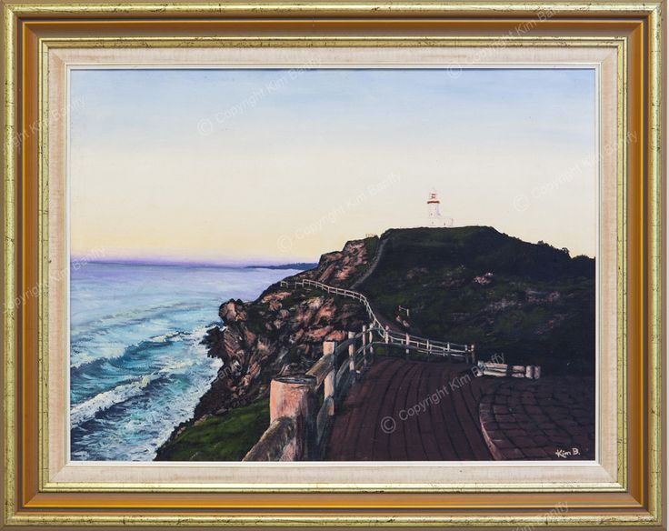 An oil painting of Byron lighthouse at dawn, available for sale on my website (framed).