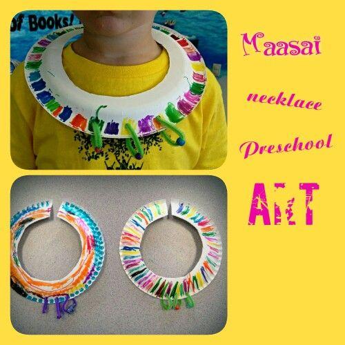 International Children Around the World theme: Africa- Kenya Maasai necklace preschool art craft.
