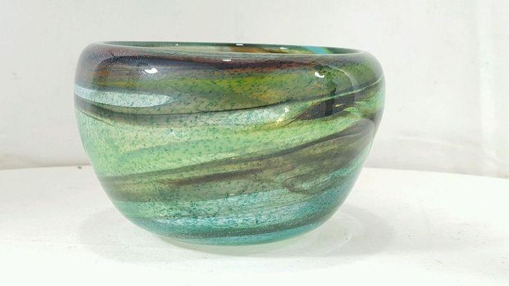 Mid Century Johansfors Sweden Bengt Orup Design Green Art Glass Bowl vase