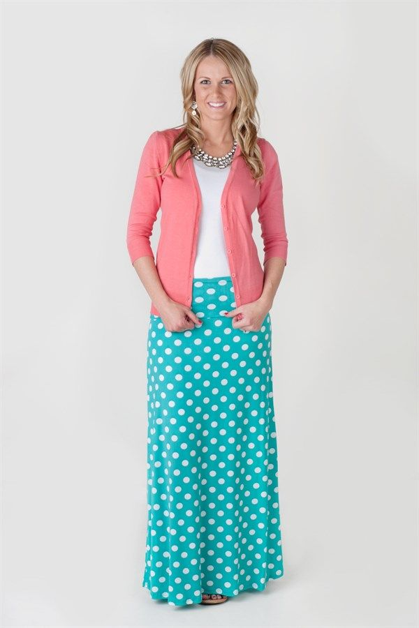 These cute maxi skirts are perfect for Spring and Summer.  They have a fold over waistband, are stretchy, and so comfortable.