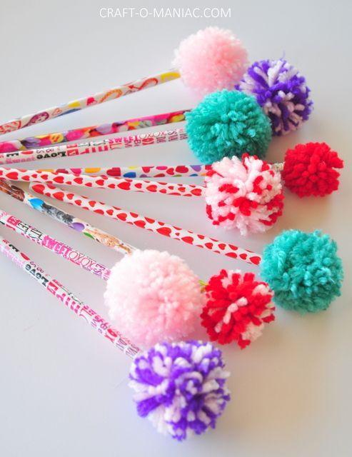 Diy yarn pom pom pencils craft o maniac kids crafts for Where to buy pom poms for crafts