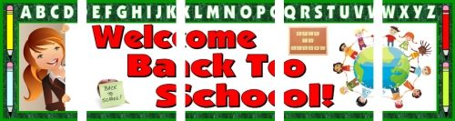 FREE DOWNLOAD:  Download and assemble this FREE 5 page Welcome Back To School banner for your classroom bulletin board display from Unique Teaching Resources.