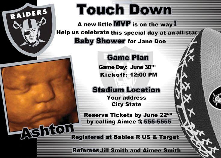 Oakland Raiders Baby Shower Invite. $19.99, via Etsy.