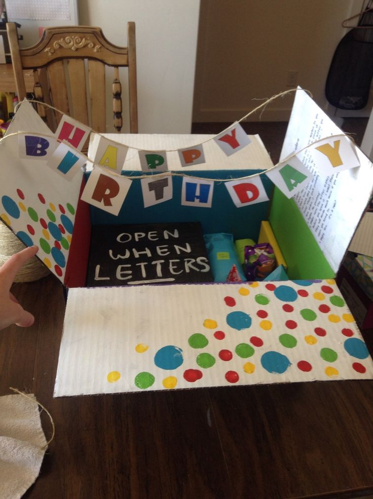 Open when letters for my best friends birthday.  Its a great gift for a boyfriend or best friend. On the side of the box a made a list of instructions so that he knew when he could open the letters and how to tell what present went with what letter http://www.giftideascorner.com/birthday-gifts-ideas
