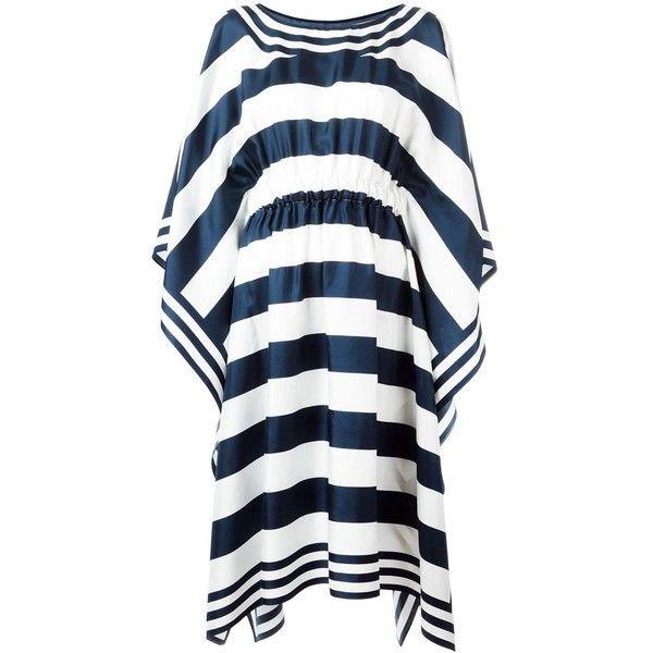 Dolce & Gabbana striped kaftan dress ($1,197) ❤ liked on Polyvore featuring dresses, blue, silk caftan, blue silk dress, v neckline dress, embellished dress and striped dresses
