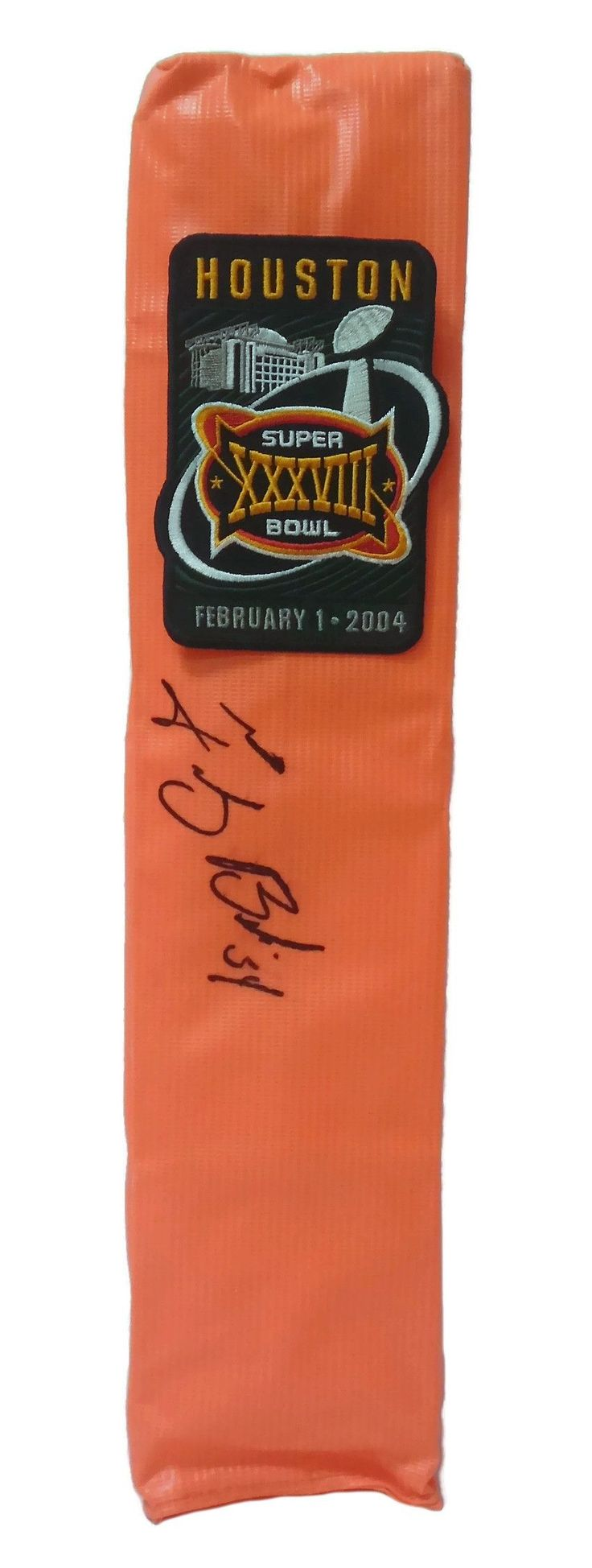 Tedy Bruschi Autographed New England Patriots Super Bowl XXXVIII Full Size Football End Zone Touchdown Pylon, Proof
