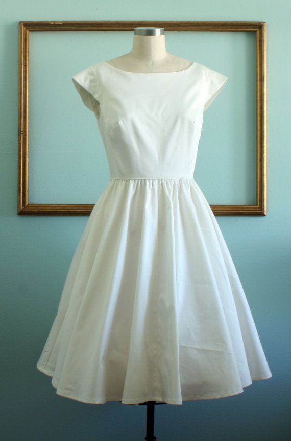short wedding dress in ivory retro 1950s by MichyLouDotCom on Etsy