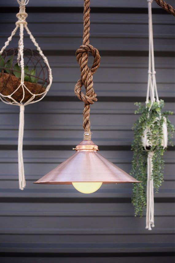 Modern Pendant Light - Copper Dome - Manila Rope Light Fixture - Rustic Lighting