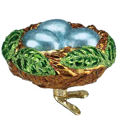 """Bird Nest Christmas Ornament 18062 Merck Family's Old World Christmas Measures approximately 2 3/4"""" Mouth blown, hand painted, glass Christmas ornament from Merck Family's Old"""