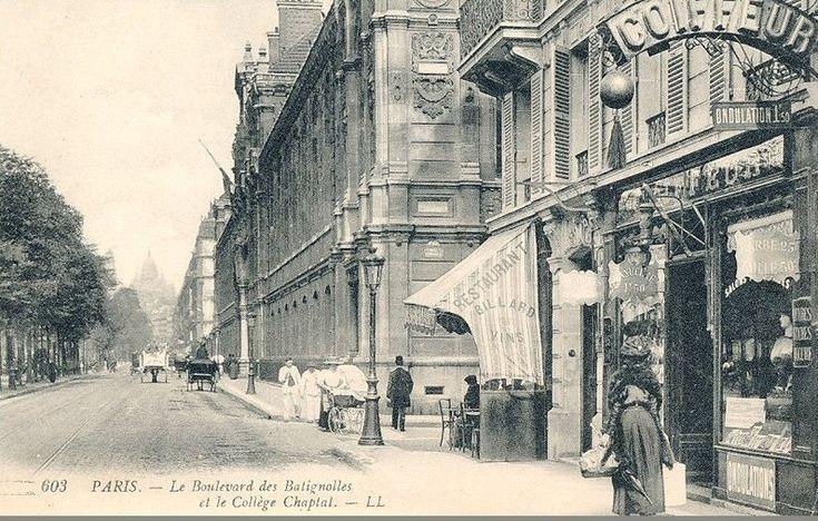 Le boulevard des Batignolles, vers 1905, au niveau du collège (aujourd'hui lycée) Chaptal avec, au loin, le dôme du Sacré-Coeur... (Paris 8ème/17ème)