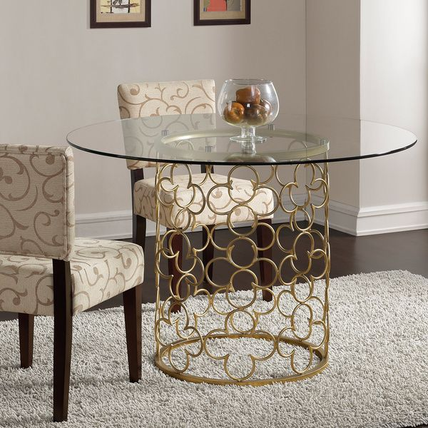 Quatrefoil brush gold dining table for Dining table deals
