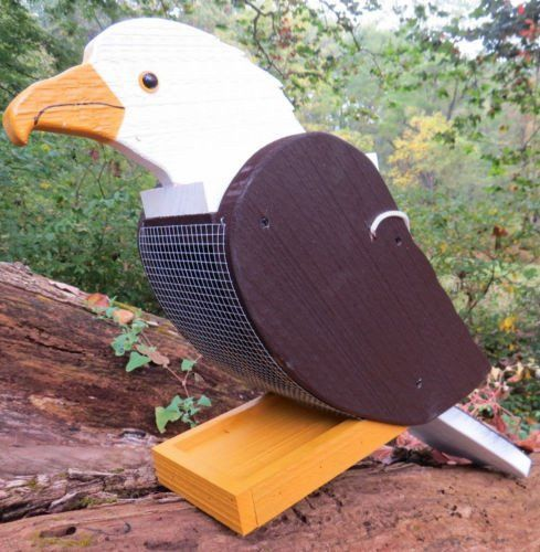 Beautiful handmade & painted AMERICAN BALD EAGLE / PHILADELPHIA EAGLES Solid Wood Bird Feeder What an awesome, unique bird feeder. FLY EAGLES FLY Extremely solid piece looks fantastic hanging from any