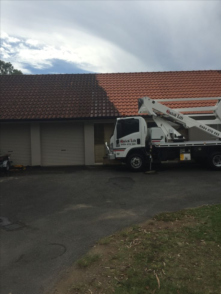 We needed a cherry picker for this roof clean