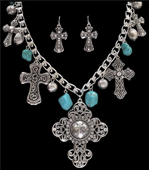 (3DB-NE1103ASTQ) Silver Strike Turquoise & Silver Cross Necklace and Earrings