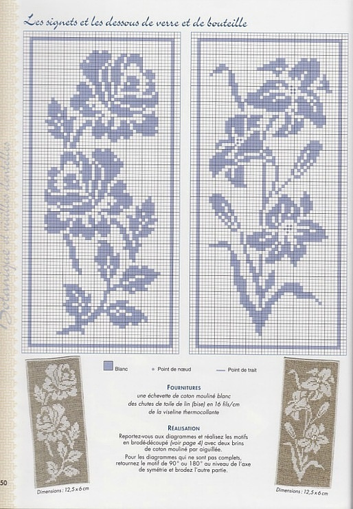 Lovely Floral Designs • could be used in Counted Cross Stitch as well as their original use as patterns for Filet Crochet.