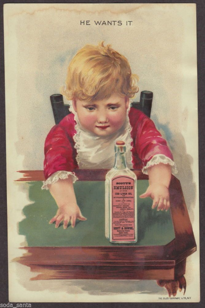 Scotts Emulsion Patent Medicine Victorian Trade Card Child Reaches For Bottle