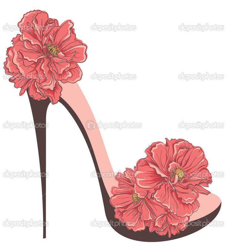 zapatos de tacón zapatos vintage con flores - Ilustración de stock: 51222501