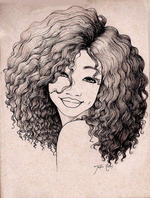 Drawing of girl smiling art