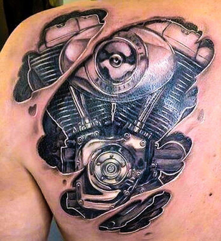 Tattoo Designs Engine: V-Twin Engine - Shoulder/Back Tattoo
