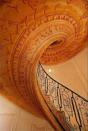 Gorgeous.: Spirals Staircases, Orange, Beautiful Stairca, Spirals Stairs, Gorgeous Stairca, Colors Design, Architecture, Swirls, Stairways To Heavens