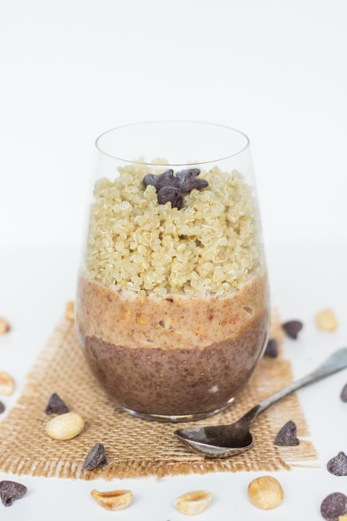 This quinoa breakfast parfait is made with a layer of rich chocolate chia pudding, a sweet peanut butter sauce and quinoa, and it tastes like candy.