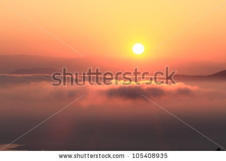 Scenic view of beautiful sunset over the mountains