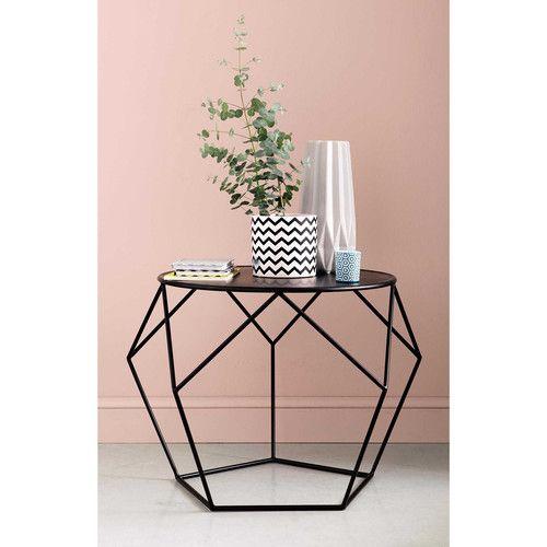 Table basse ronde en métal noire D 64 cm