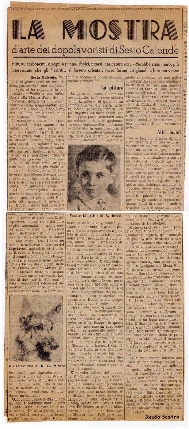 1939 Giornale testo Regdo Scrodo, La Prealpina, Varese