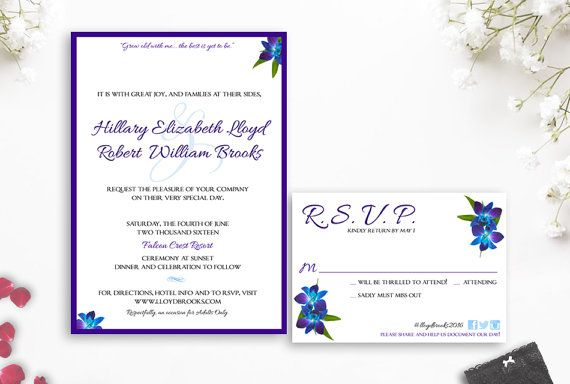 Dendrobium Orchid Wedding Invitation Blue Orchid Wedding