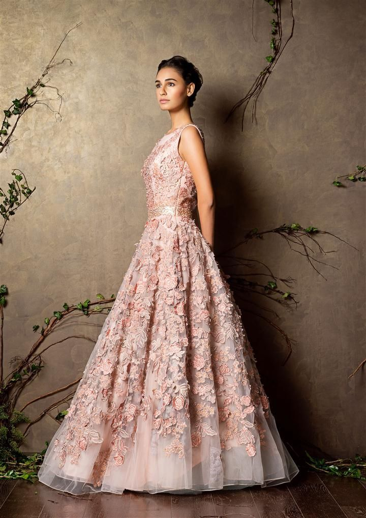 Baby pink gown with floral applique - Shyamal and Bhumika New Collection 2015 - A Little Romance - Autummn-Winter Collection 2015