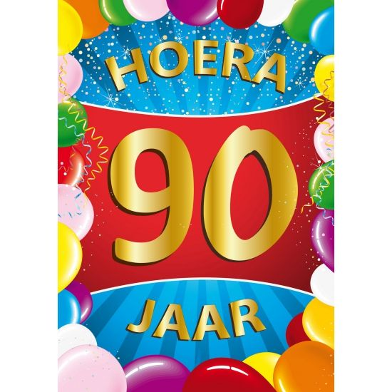90 jaar mega deurposter in A1 formaat voor een 90ste verjaardag. Grote deurposter 90 jaar met de tekst: Hoera 90 jaar. A1 formaat: ongeveer 59 x 84 cm.
