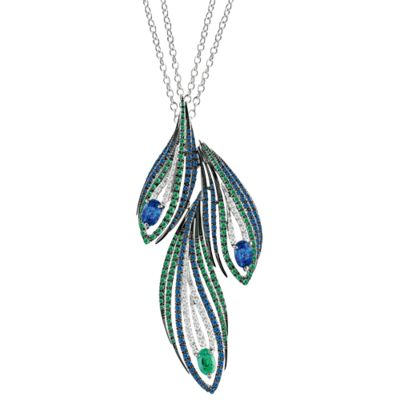 Peacock Pendant -   WHITE GOLD, DIAMONDS (CT 0,57), SAPPHIRES AND EMERALDS (CT 3,83)