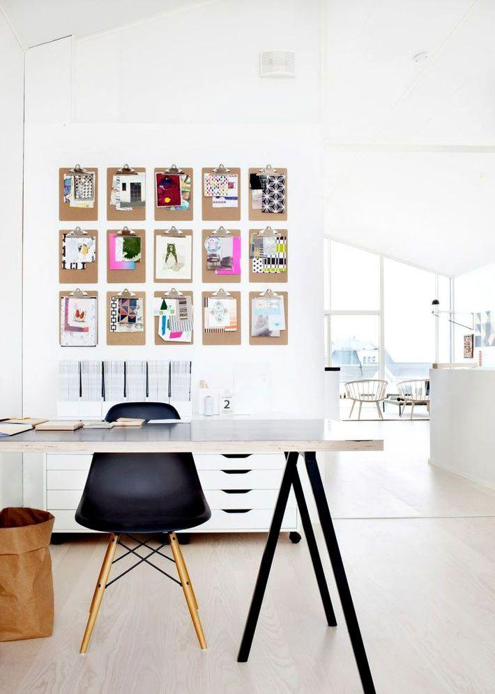 Дизайн домашнего офиса в скандинавском стиле и белом цвете