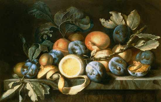 Pierre Dupuis-Still Life with Plums and a Peeled Lemon (one of a pair)