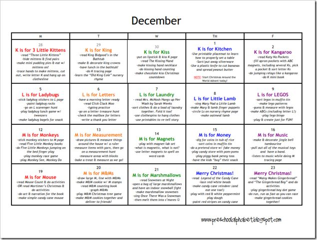 Calendar Theme Ideas For Each Month : Great preschool website with lesson ideas for each letter