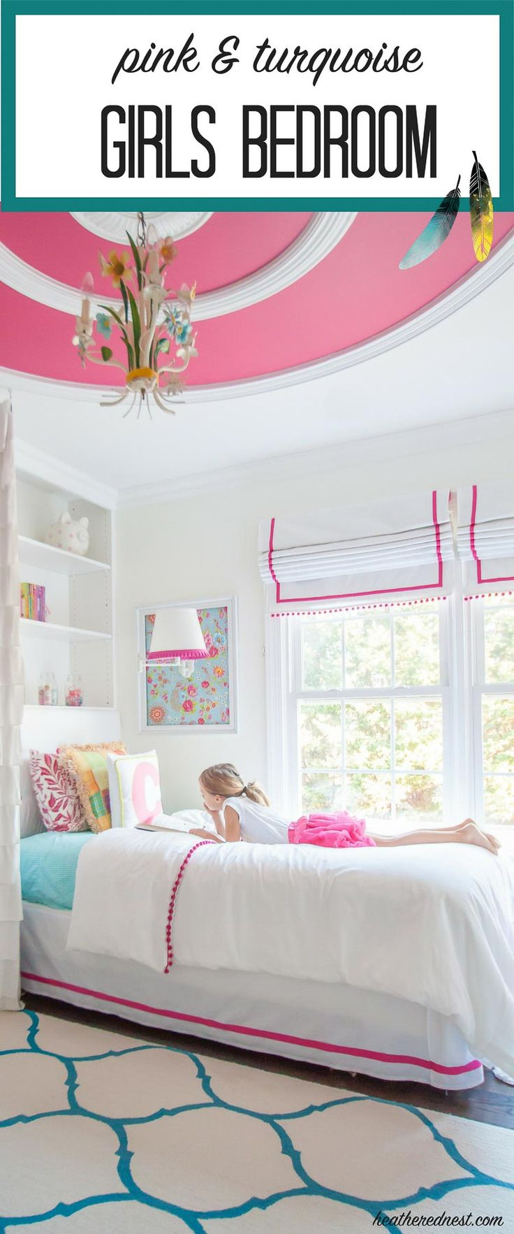 GORGEOUS! Turquoise and pink bedroom reveal from heatherednest.com LOVE the DIY bedding! And that wallpaper :) :)