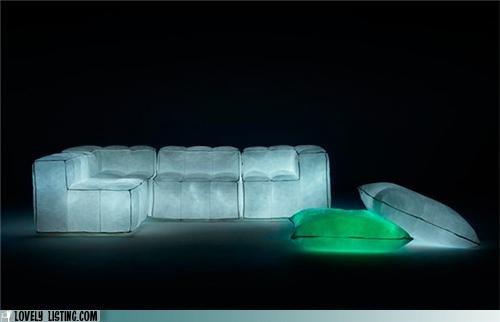 light-up furniture: Houses, Sofas Design, Chairs, Mario Bellinis, Dark Couch, Creative Design, Furniture Design, Pillows, Glow Furniture