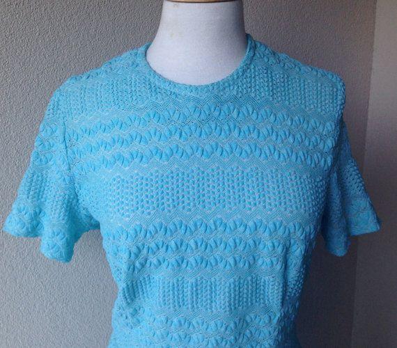 70's Blue Knit dress size 12/14 US size 6/8 by PearlsVintageCloset